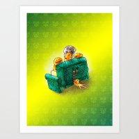 sofa Art Prints featuring Family sofa by Bakal Evgeny