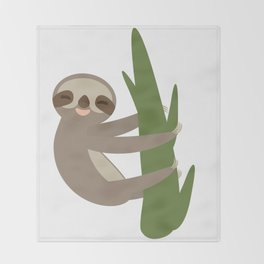 Three-toed sloth on green branch on white background Throw Blanket