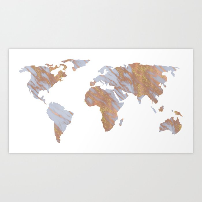 rose gold marble map rosegold world art print