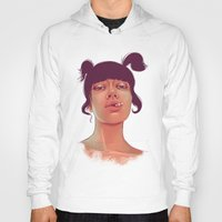 cigarette Hoodies featuring Girl cigarette by Danit Rotart