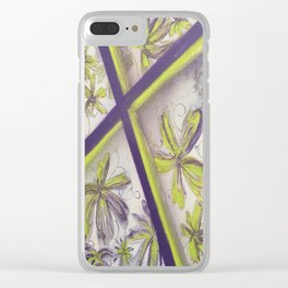 Purple green spray paint Clear iPhone Case