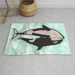 Orcas in love Rug