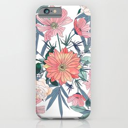 Elegant pink and blue watercolor floral design iPhone Case