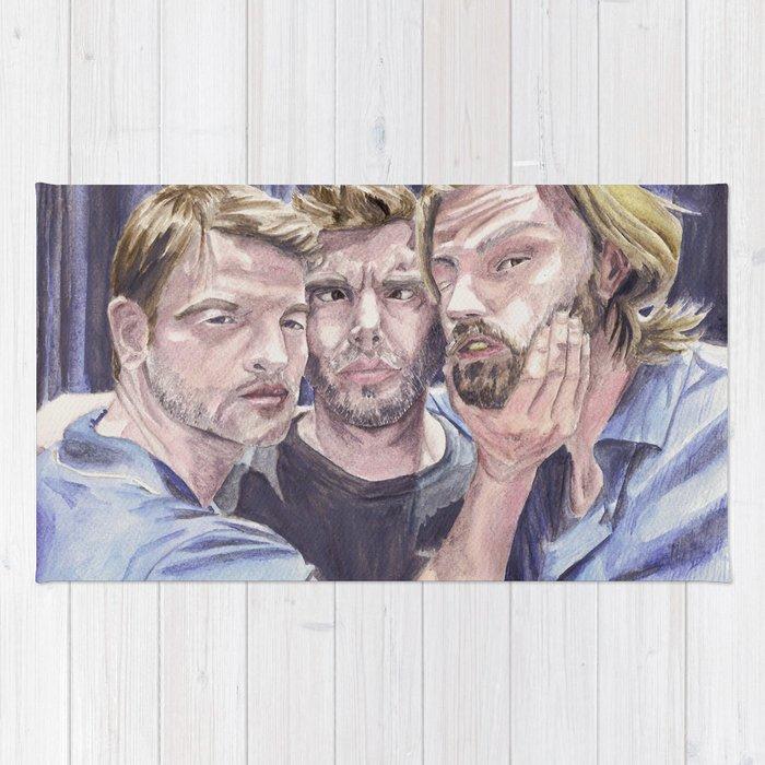 Team Free Will 2.: Misha Collins; Jared Padalecki and Jensen Ackles, watercolor painting Rug