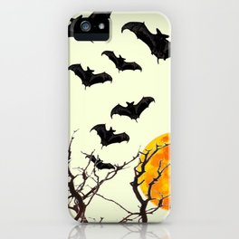 GOTHIC HALLOWEEN FULL MOON BLACK FLYING BATS DESIGN iPhone Case