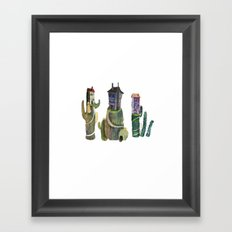 cactus mountains Framed Art Print