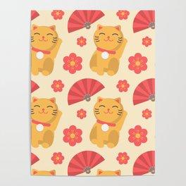 Japanese Lucky Cat Fan Flower Pattern Cute Poster