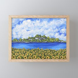 Sunflowers In Provence France by Mike Kraus - art french Rhône River clouds gifts presents sky wow Framed Mini Art Print