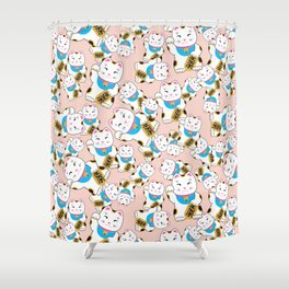 Maneki-neko good luck cat pattern Shower Curtain