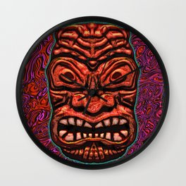 Tiki Tile Red Stone Wall Clock