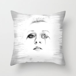 Sci-fi minimalist portrait of a woman digital painting Throw Pillow