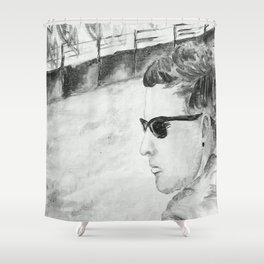 B/W I am not famous Shower Curtain