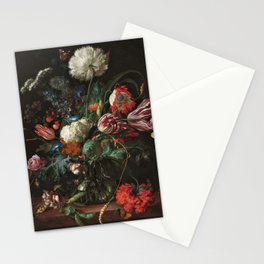 Still Life Parrot Tulips, Peonies, Hibiscus, Hydranga, Periwinkle Flowers in Vase by Jan de Heem Stationery Cards