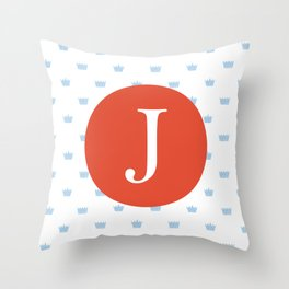 Print for a prince- letter j Throw Pillow