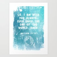 bible verses Art Prints featuring Typographic Motivational Bible Verses - Matthew 28:20 by The Wooden Tree