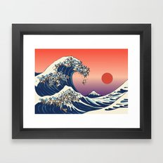 The Great Wave of Pug Framed Art Print