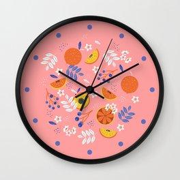 PEACH AND ORANGE PATTERN Wall Clock