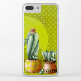 """Green Lemon Cactus Polka Dots"" Clear iPhone Case"