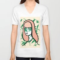 plant V-neck T-shirts featuring Plant Girl by Visualcrafter