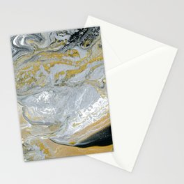 Old Money - Abstract Paintng in Metallic Gold, Silver, and Black Stationery Cards
