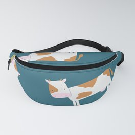 Brown Cow – Petrol Blue Background Fanny Pack