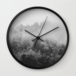 Landscape Photography | Forest Fog | Black and White Art | Minimalism Wall Clock