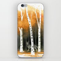 autumn iPhone & iPod Skins featuring Autumn Wolf by Freeminds
