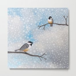 chickadees in snow Metal Print