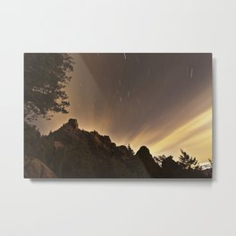 Star Trails Over the Flatirons Metal Print