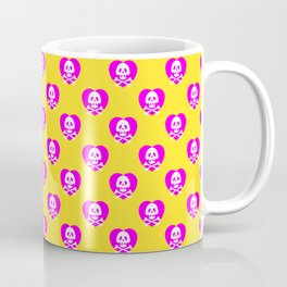Skull heart pattern, punk rock skull, punk girl, love kills, yellow pink hearts, girly emo skull Coffee Mug