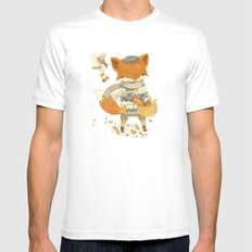 Fritz the Fruit-Foraging Fox MEDIUM Mens Fitted Tee White