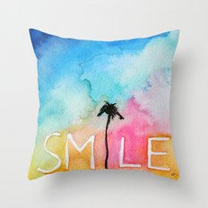 Palm tree Smile IN watercolor Throw Pillow