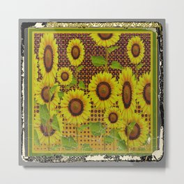 GRUBBY WORN BROWN SUNFLOWERS ART Metal Print