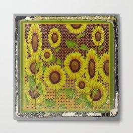 GRUBBY WORN BROWN SUNFLOWERS ART Metal Print