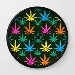 Colorful Marijuana weed Wall Clock