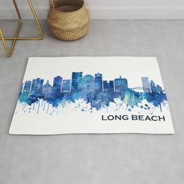 Long Beach California Skyline Blue Rug