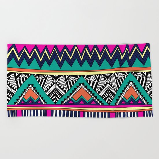 Multicolor tribal background with doodle elements Beach Towel