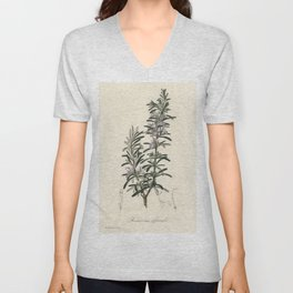 Rosemary (Rosmarinus) officinalis  from Medical Botany (1836) by John Stephenson and James Morss Chu Unisex V-Neck