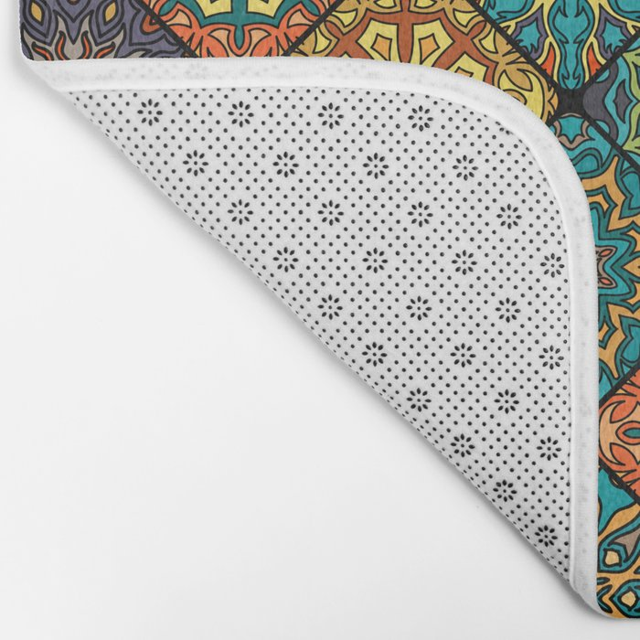 Vintage patchwork with floral mandala elements Bath Mat
