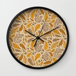 Oak & Squirrels | Autumn Yellows Palette Wall Clock