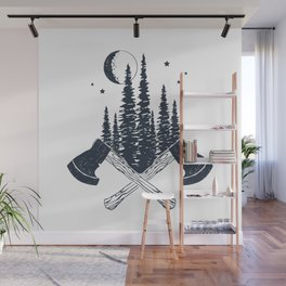 Axes. Double Exposure Wall Mural