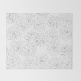 Peony Flower Pattern Throw Blanket