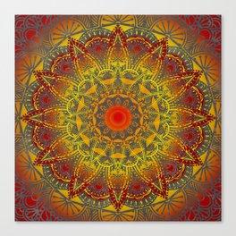 Oriental Watercolor Flower Mandala Canvas Print