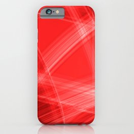 Light strokes with red diagonal lines from intersecting glowing bright energy waves. iPhone Case