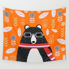Bear in floral rain Wall Tapestry