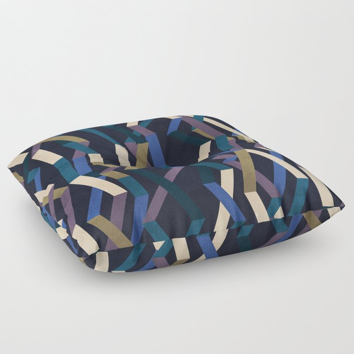Straight Geometry Ribbons 2 Floor Pillow