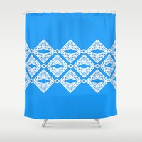 china Shower Curtains featuring Blue China by pandaliondeath