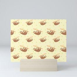Cute Illustrated Sloths Hangin Out Pattern Mini Art Print