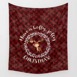 Rudolph Red Plaid Have a Holly, Jolly CHRISTMAS typography Wall Tapestry