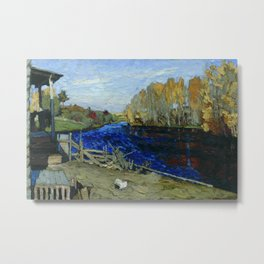 Autumn by the mill pond landscape painting by Stanislav Zhukovsky Metal Print